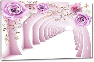 Сиреневый тоннель с розами
