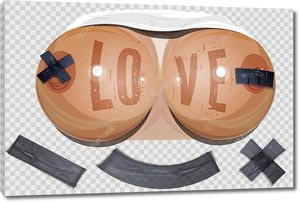Лозунг любовь на груди УИ запечатанный скотч. Сексуальная девушка тело с большой грудью на прозрачном фоне. Женские сиськи с лентой