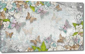 Бабочки с жемчужинками на фоне цветов