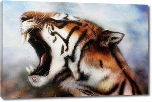 Голова ревущего тигра