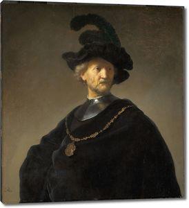 Рембрандт. Пожилой мужчина в чёрном берете и с золотой цепью