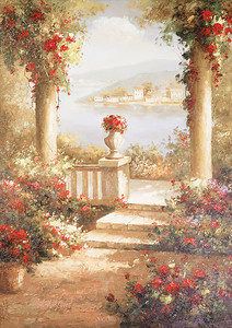 Сказочная терраса с красными цветами