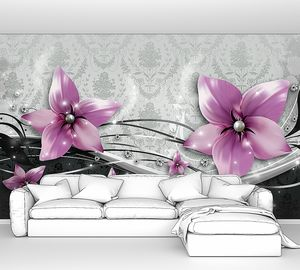 Розовые бутоны на узорчатой стене