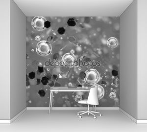 Пузырьков воздуха в жидкости. Абстрактный фон черно-белые