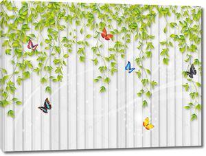 Свисающая зелень на заборе