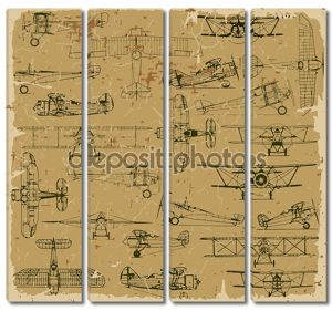 Ретро самолеты бесшовные старинные картины старой бумаги.
