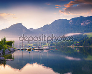 Colorful summer morning on the Grundlsee