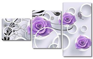Фиолетовые розочки с бабочками