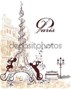 Эйфелева башня, украшенный музыкальный нотный стан, ноты, музыканты