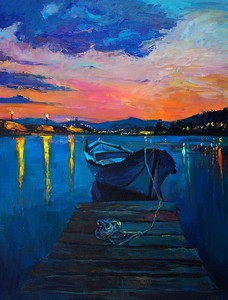 Лодка на пирсе ночью. Живопись