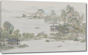 Китайские домики вдоль берега
