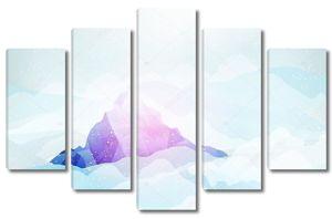 пик снежные горы с облаками и под ним - векторные иллюстрации