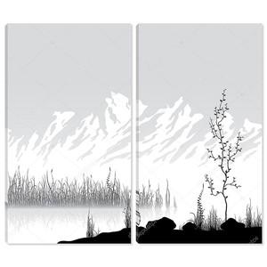 Пейзаж с горами у озера