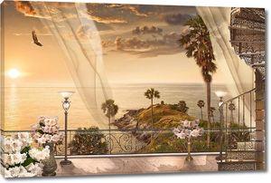 Вид на закате с террасы на море