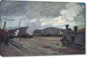 Моне Клод. Железнодорожный вокзал в Аржантее, 1872