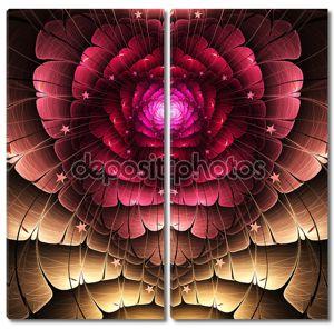 красное рекурсивное сердце, повод дня святого Валентина, цифровое произведение искусства для творческого графического дизайна