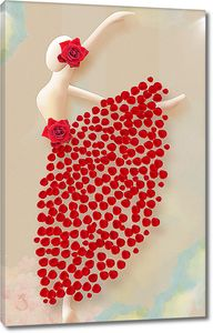 Статуэтка танцовщицы в платье из лепестков роз