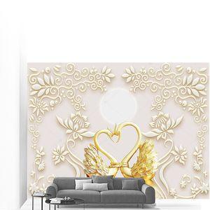 Декоративные тисненые цветы, два золотых лебедя