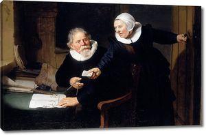 Рембрандт. Портрет судостроителя Яна Рейксена с его женой Грет Дженс