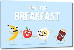 Время для завтрака - красочные современные векторные иллюстрации