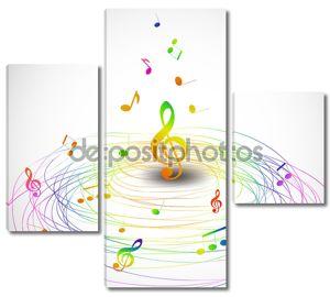 Красочная музыка фон с нотами летать. Вектор