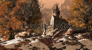 Средневековый замок-крепость в горах