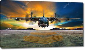 Военный самолет, посадка на ВПП военно-воздушных сил против красивых dus