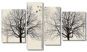 Черные и серые контуры деревьев
