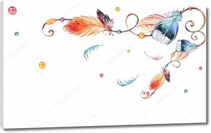 Орнамент, перья различных цветов