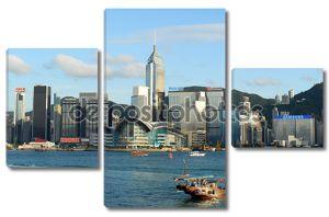 skyline wan chai области острова Гонконг, Гонконг Конвенции и выставочный центр слева. самое высокое здание в центре находится Центральная площадь 78-история.