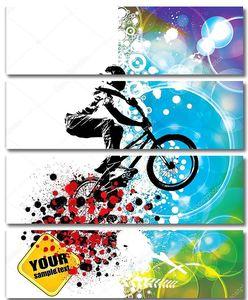 Велосипедист на разноцветном фоне