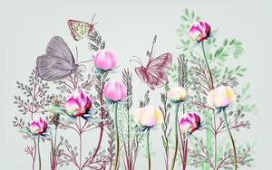 Нарисованные бабочки на бутонах
