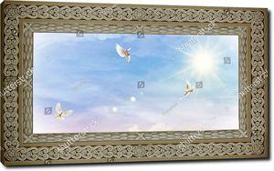 Птицы в небе с массивной рамке с узором