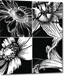 Набор цветочных графический стола