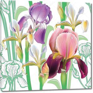 Бесшовный цветочный фон с ирисами