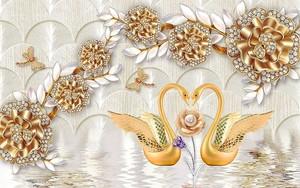 Золотые цветы , пара лебедей на воде