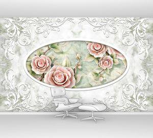 3D потолок фрески обои, белый декор рамки, каменные розы на бледно-зеленом мраморном фоне. 3d обои .