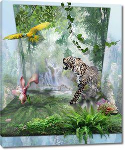 Попугай с гепардом