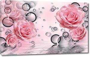 Розы и черно-белые круги над водой
