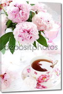 Розовые пионы и чашка чая