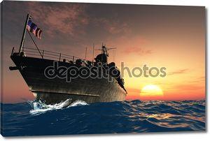 Военный корабль с флагом
