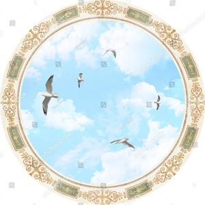 Круглый плафон с небом и птицами