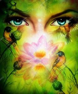 Глаза женщины с цветком лотоса и птичками