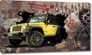 Желтый джип в стене
