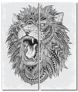 рисованной абстрактного Льва векторная иллюстрация