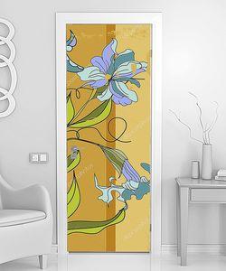 Голубые цветы на полосатой стене