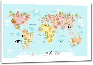 Карта мира для детей с животными