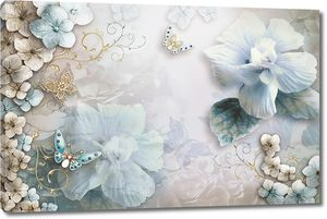 Цветы и бабочки в бежевых и голубых тонах