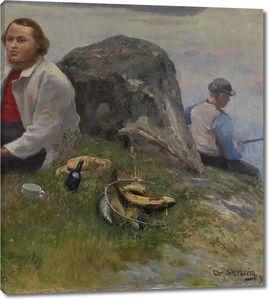Кристиан Скредсвиг. Асбьернсен в поездке с мальчиком-рыбаком