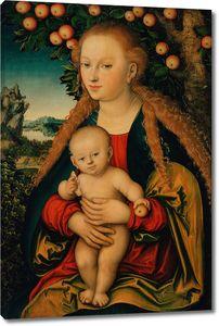 Кранах Лукас Старший. Мадонна с младенцем под яблоней
